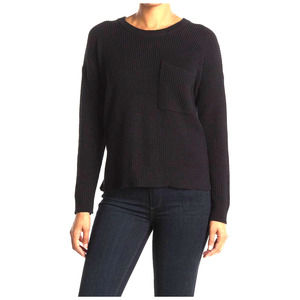 MADEWELL Thompson Sweater S Boxy Pullover Long Sleeve Pocket Crew Neck Black